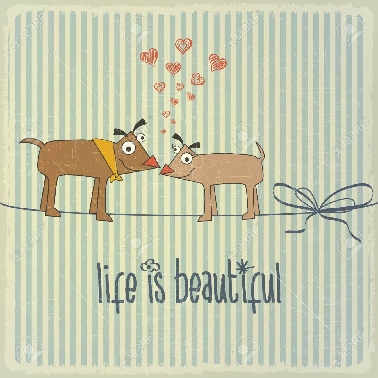 Ilustracion Retro Con Par De Perros Felices En El Amor Y La Frase