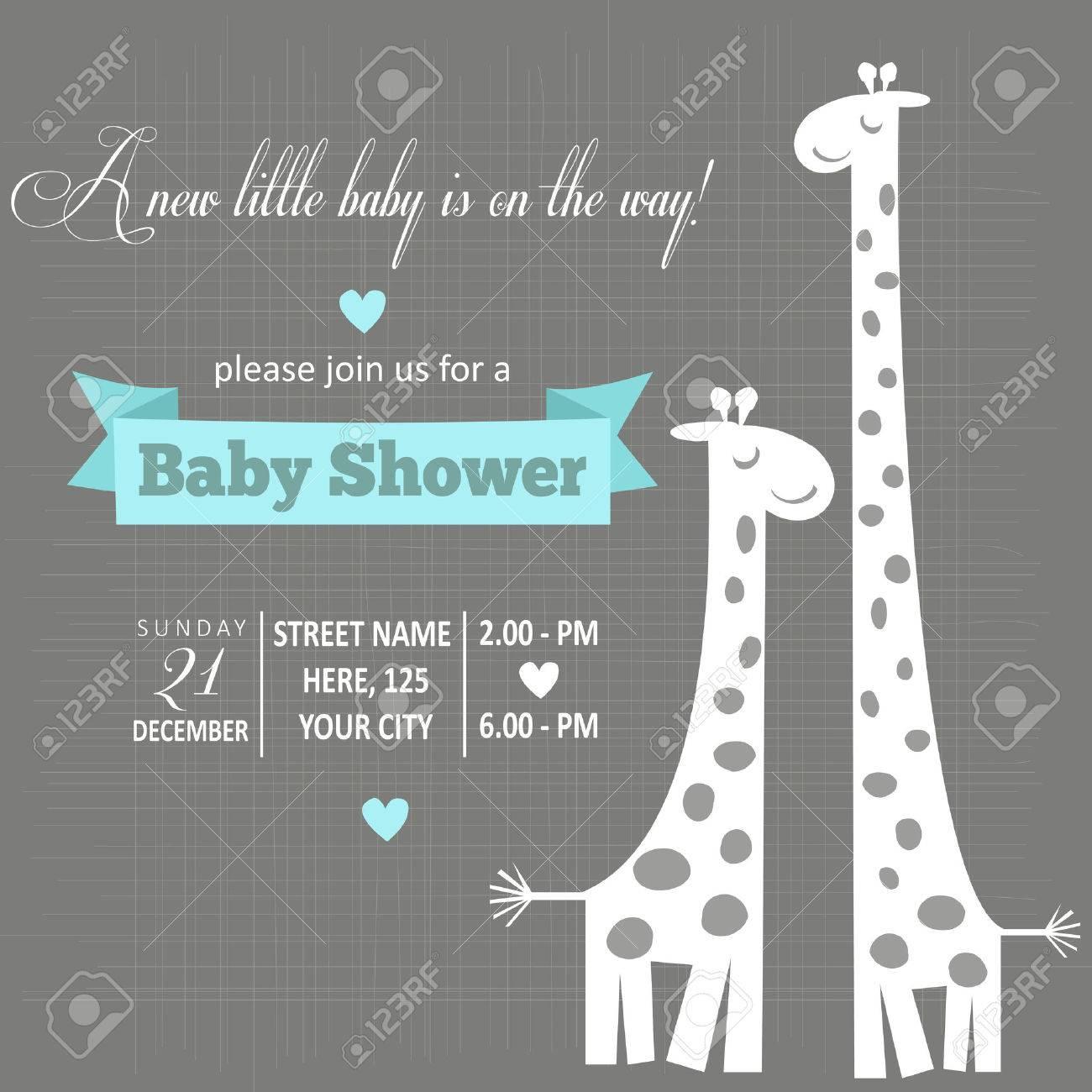 Tarjeta De Baby Shower Niño Ilustración Vectorial