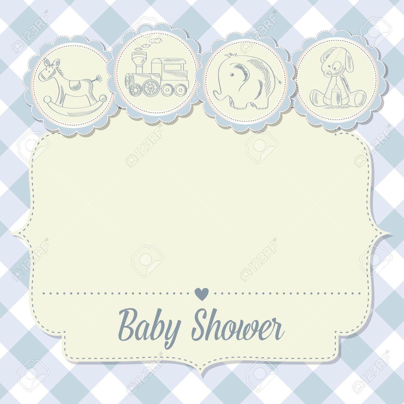 Tarjeta De Baby Shower Niño Con Juguetes Retro Ilustración