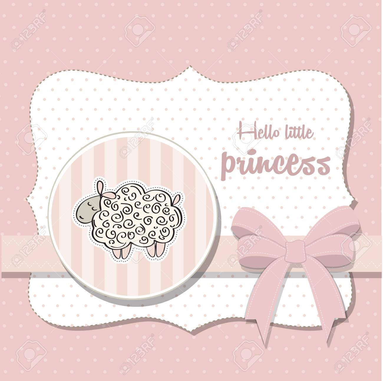 Box Doccia Shabby Chic.Shabby Chic Baby Girl Shower Card Vector Illustration