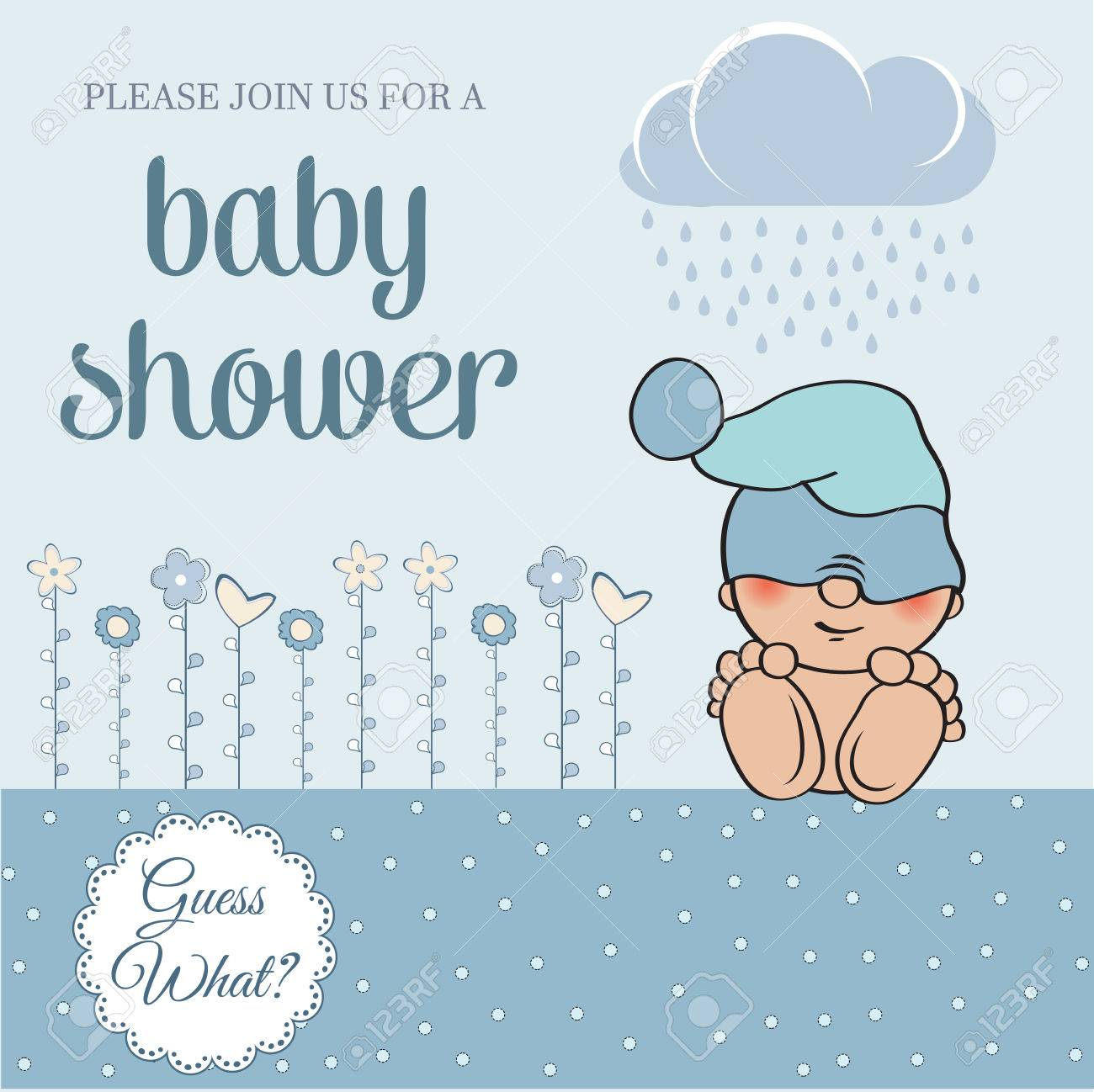 baby boy shower card with funny little baby, vector illustration - 61590884