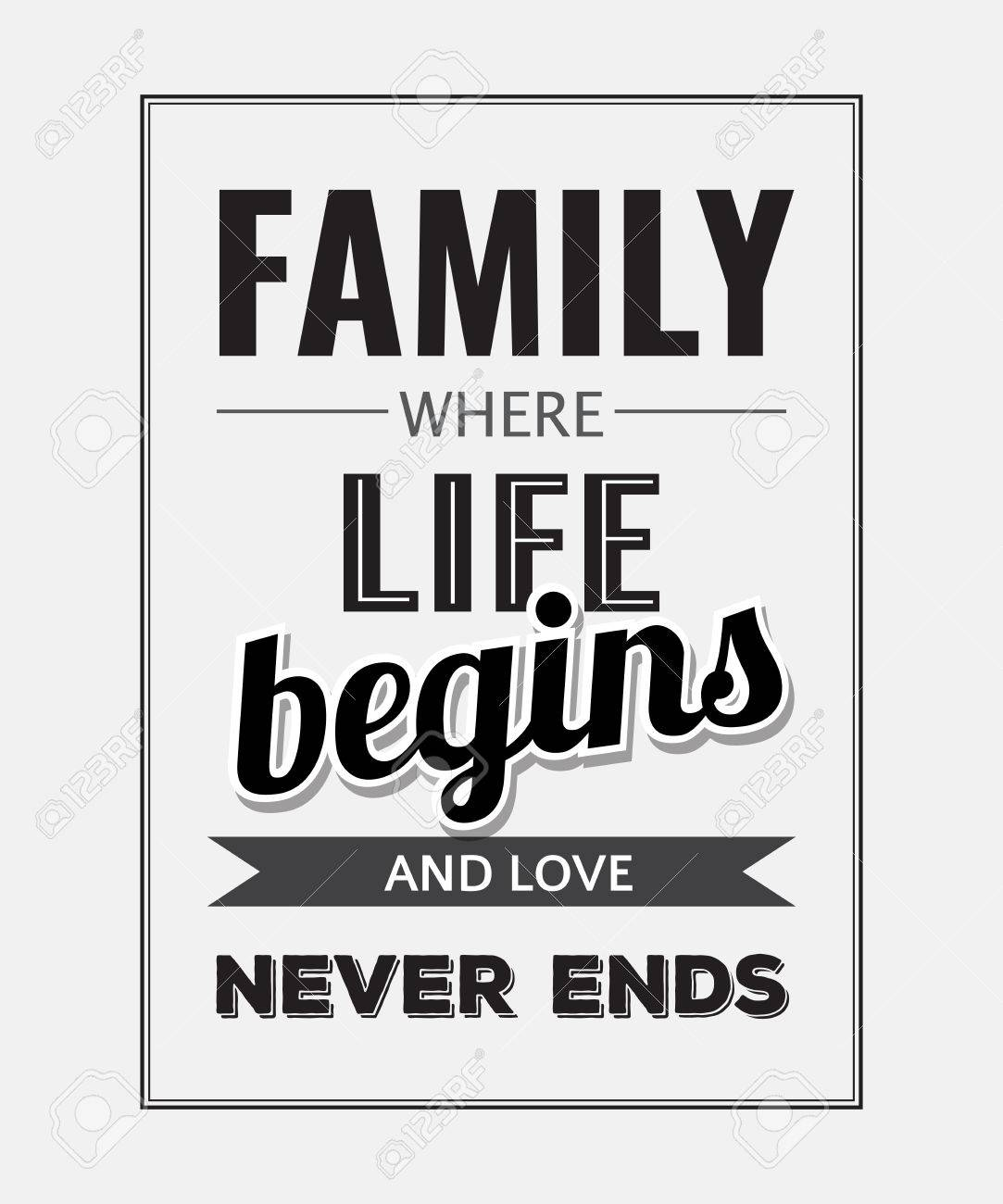 Retro Motivational Quote Family Where Life Begins And Love