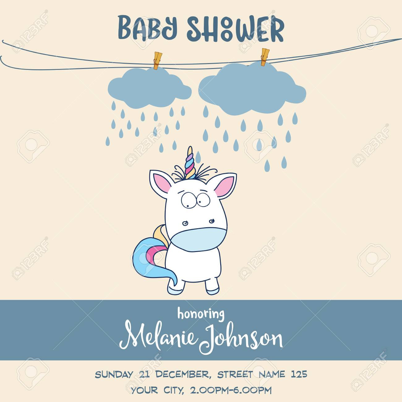 Baby Shower Card Template   Beautiful Baby Shower Card Template With Lovely Baby Unicorn