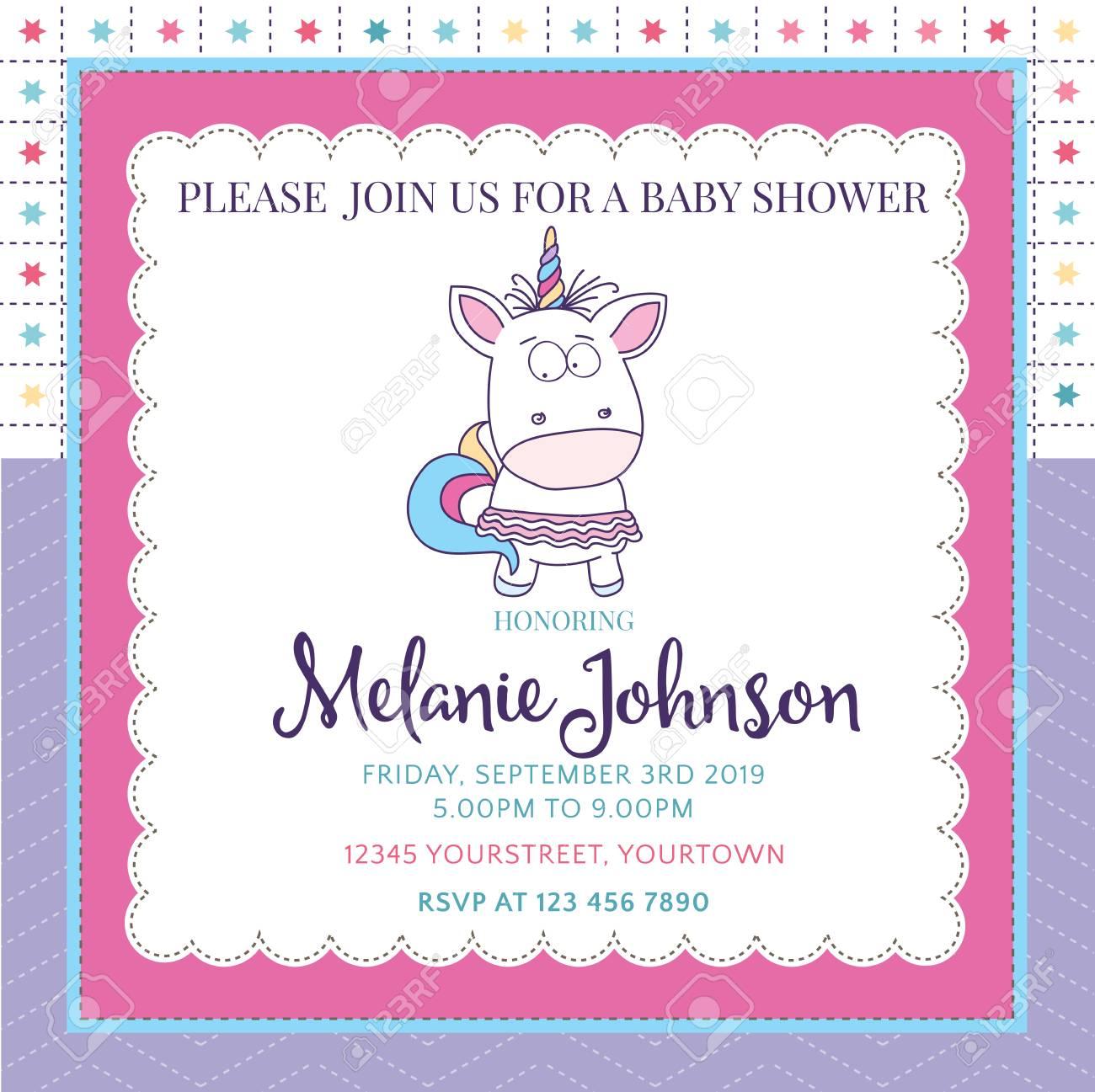 7c4368a531b73 Foto de archivo - Hermosa plantilla de tarjeta de baby shower con un  hermoso bebé unicornio.