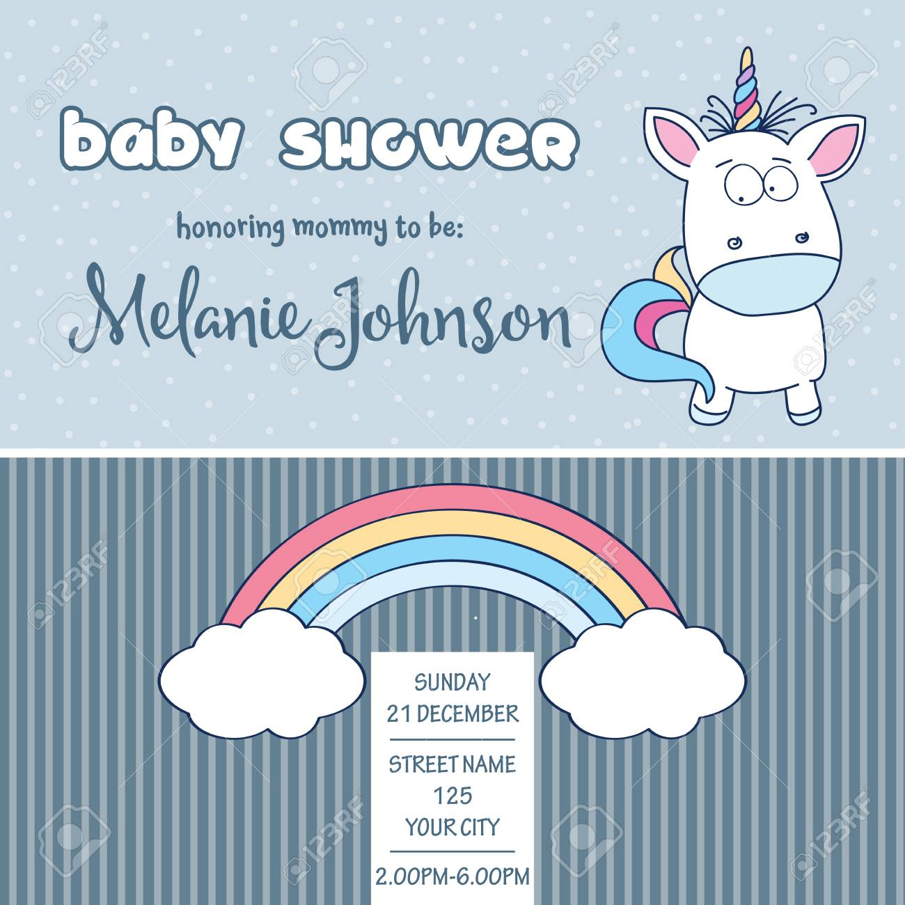 Beautiful Baby Shower Card Template With Lovely Baby Unicorn