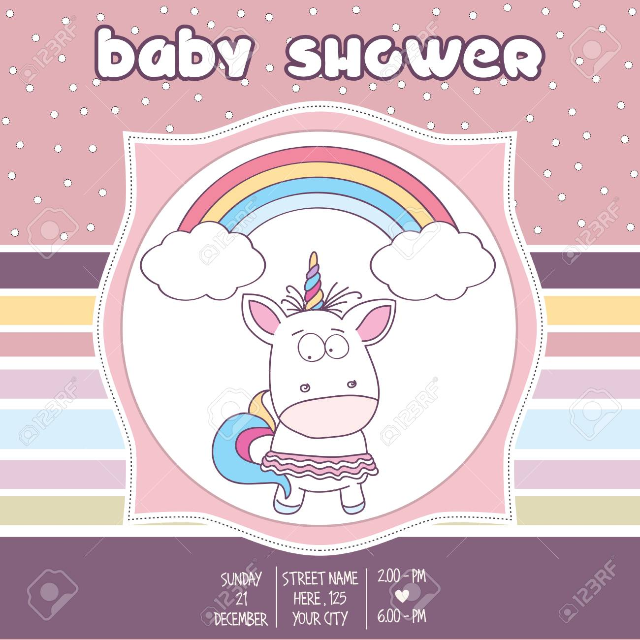 Beautiful Baby Shower Card Template With Lovely Baby Girl Unicorn, Vector  Format Stock Vector