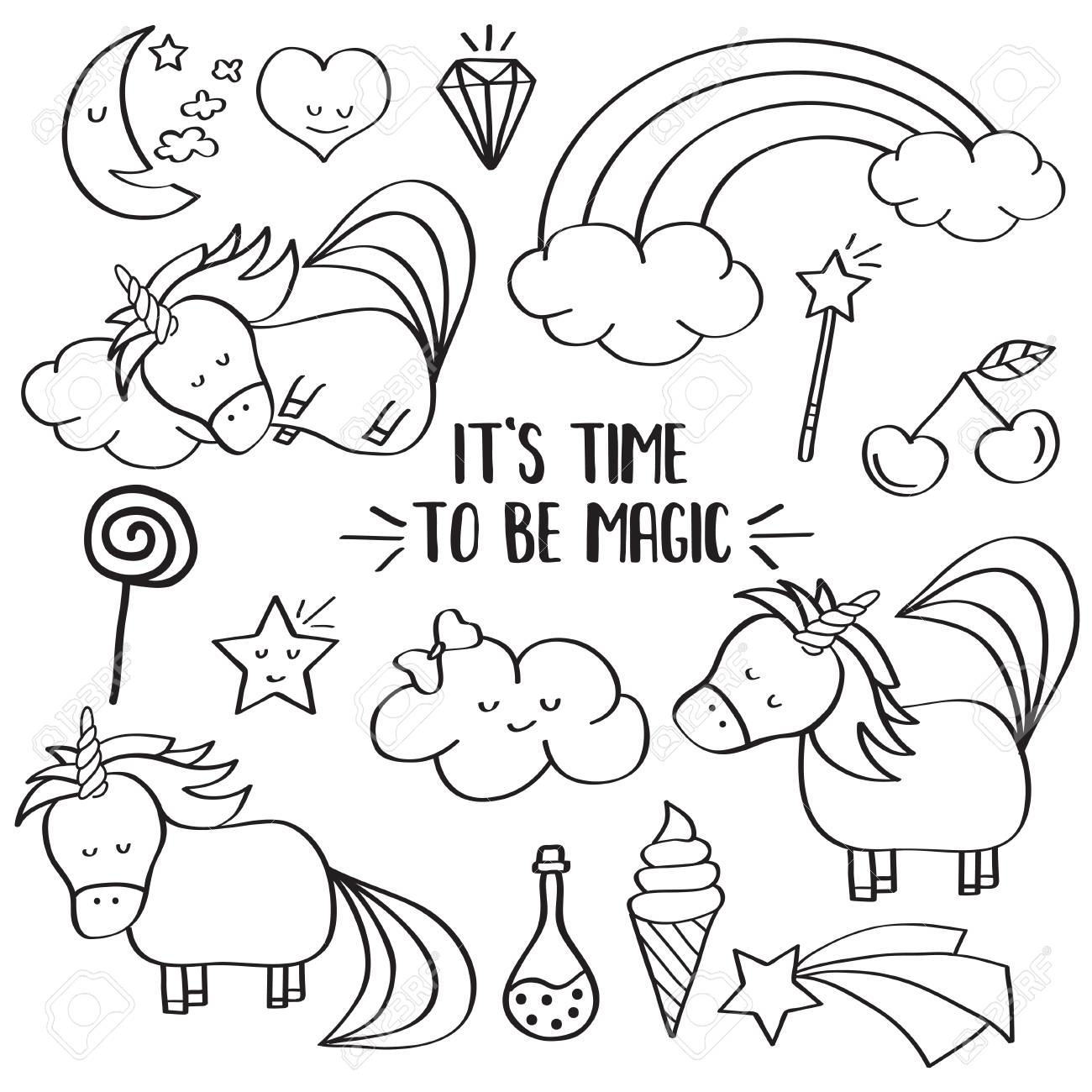 c3f4621394 Doodle items collection with unicorns and other fantasy magical elements.  For coloring. Vector Stock