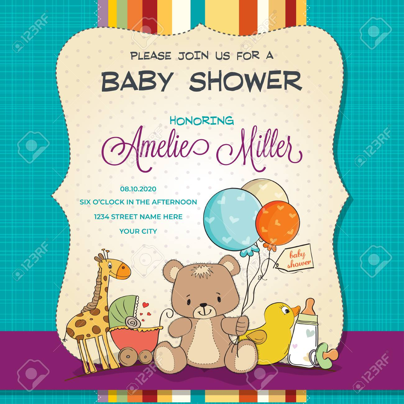 Baby shower card with toys, customizable - 109467364