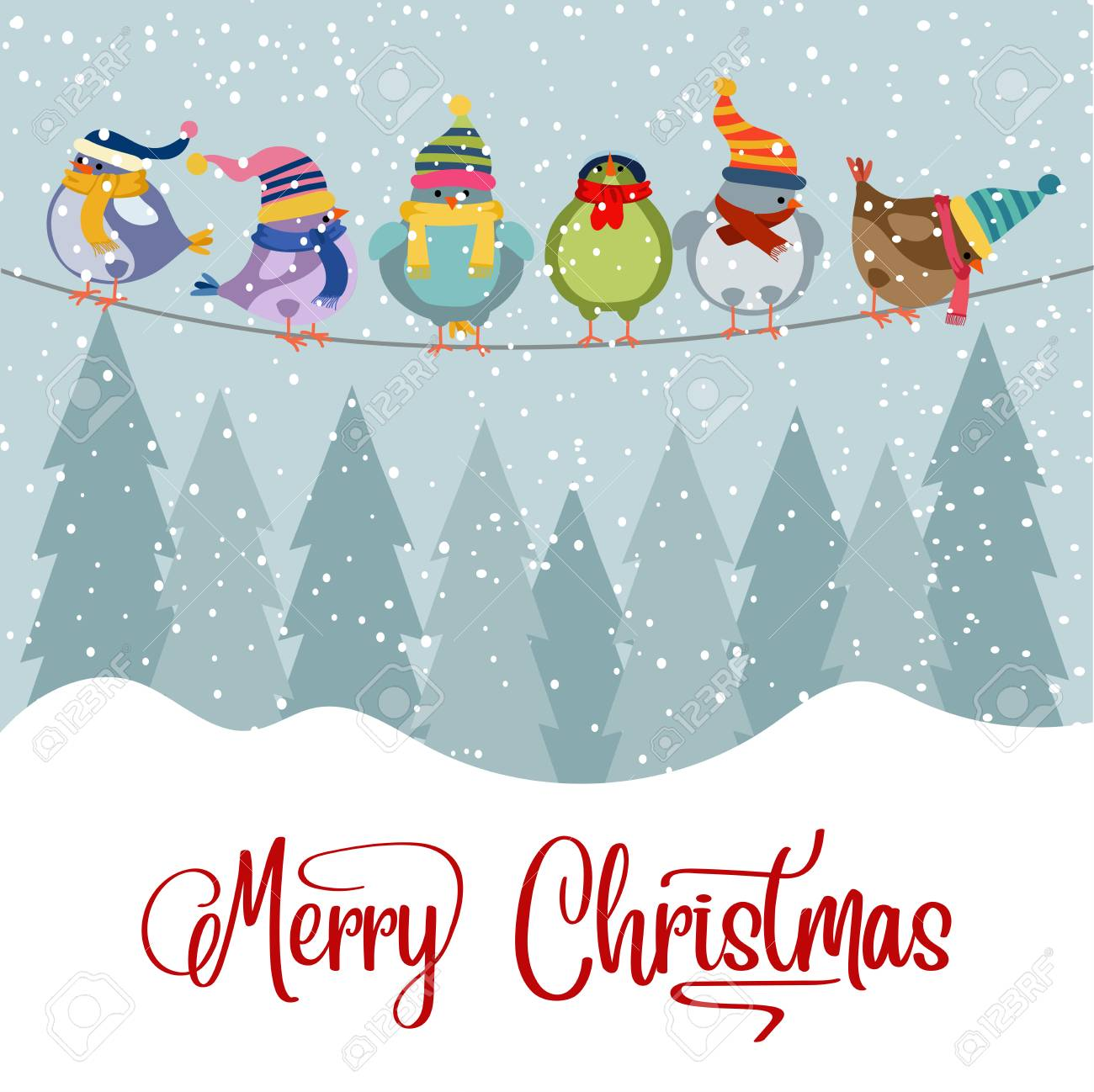 Christmas card with birds. Christmas background. Flat design. Vector - 127293605