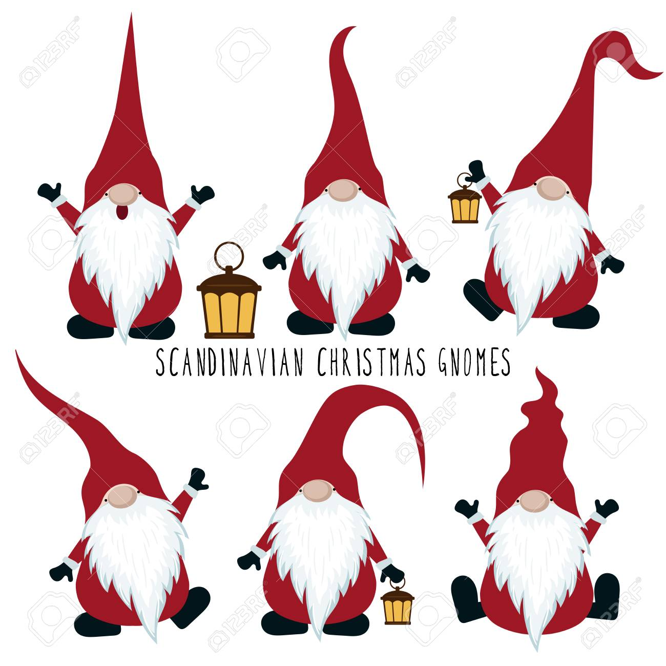 Christmas Gnomes Clipart.Christmas Gnomes Collection Isolated On White Background Vector