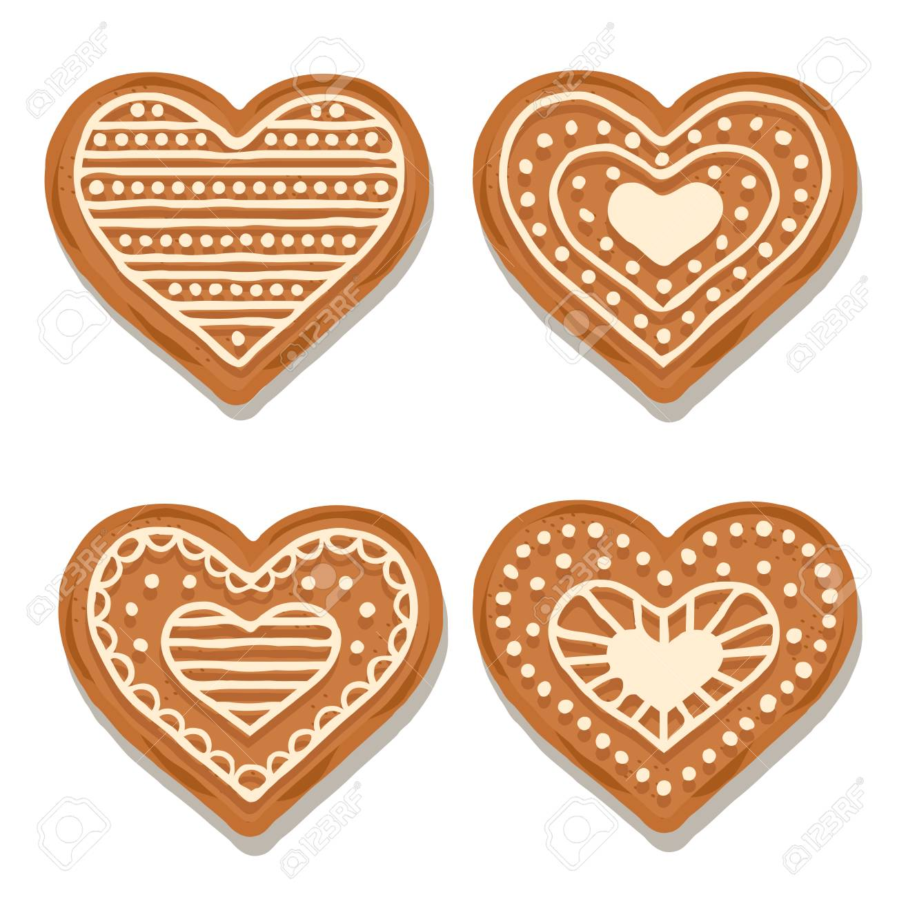 Realistic Gingerbread Hearts Collection Isolated On White Background