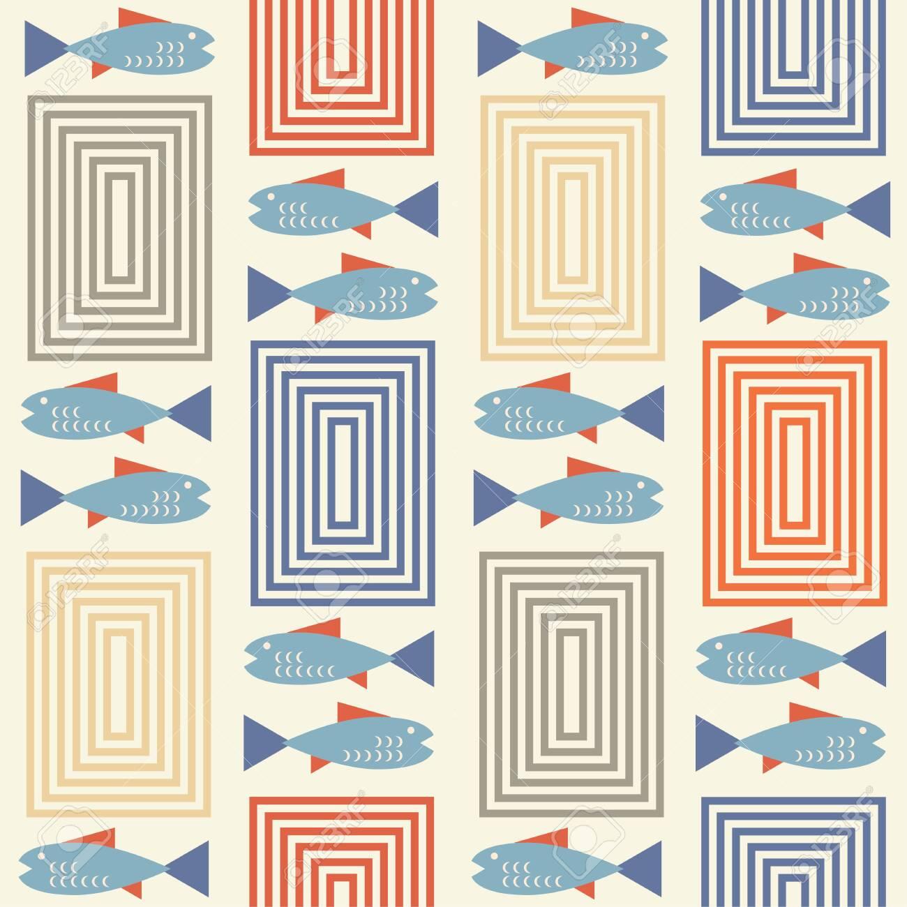 mid century style seamless pattern - 134023226