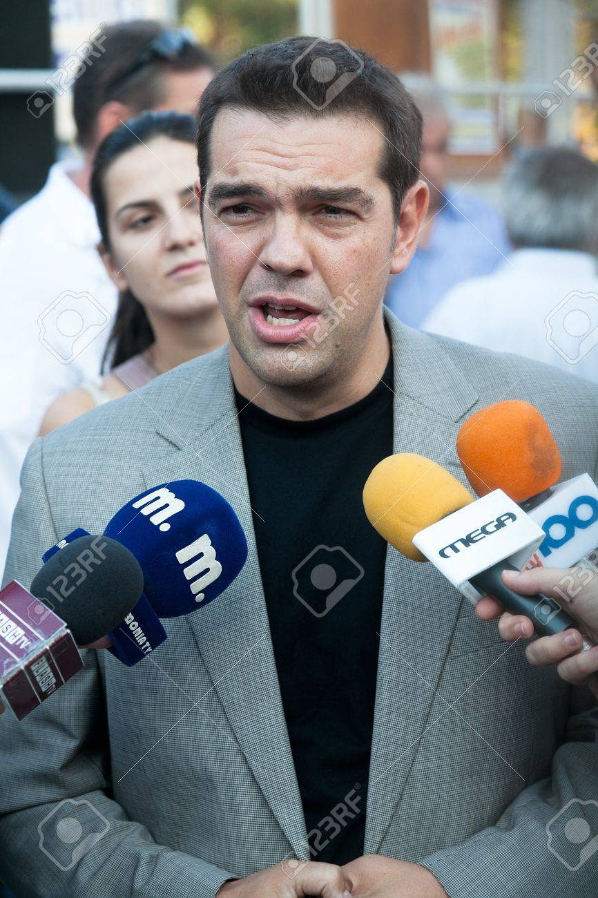 THESSALONIKI, GREECE - SEPTEMBER 10: Alexis Tsipras at the panhellenic protest at the statue of Venizelos in Thessaloniki on September 10, 2011.The organization is done by the Panhellenic Federation of Workers Stock Photo - 14419741