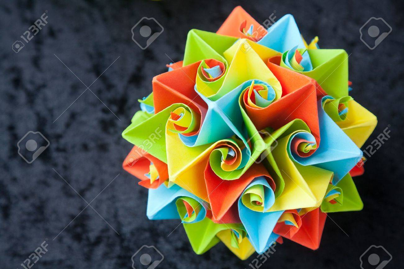 Closeup Of Big Origami Star Flowers From Paper With Selective Focus
