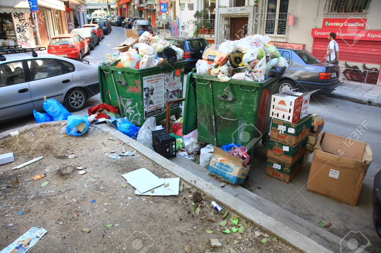 THESSALONIKI, GREECE - JUNE 20: Streets filled with garbage due to garbage men strike for several days in the city of Thessaloniki on June 20, 2011. Stock Photo - 15619794