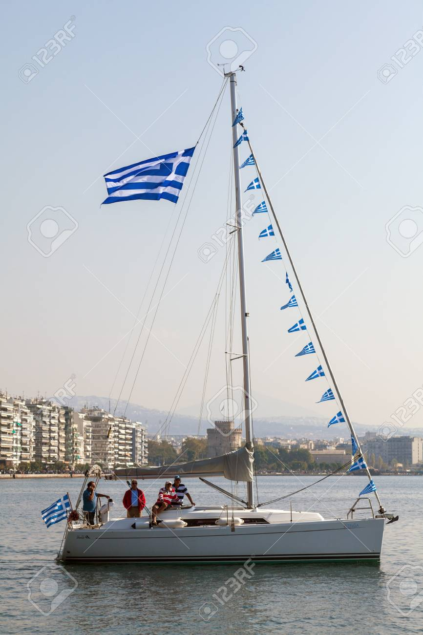 THESSALONIKI, GREECE - OCT 26: Participation of sailboats in the context of the celebrations for the centenary of the liberation of the city on Oct 26, 2012 in Thessaloniki, Greece Stock Photo - 17146433