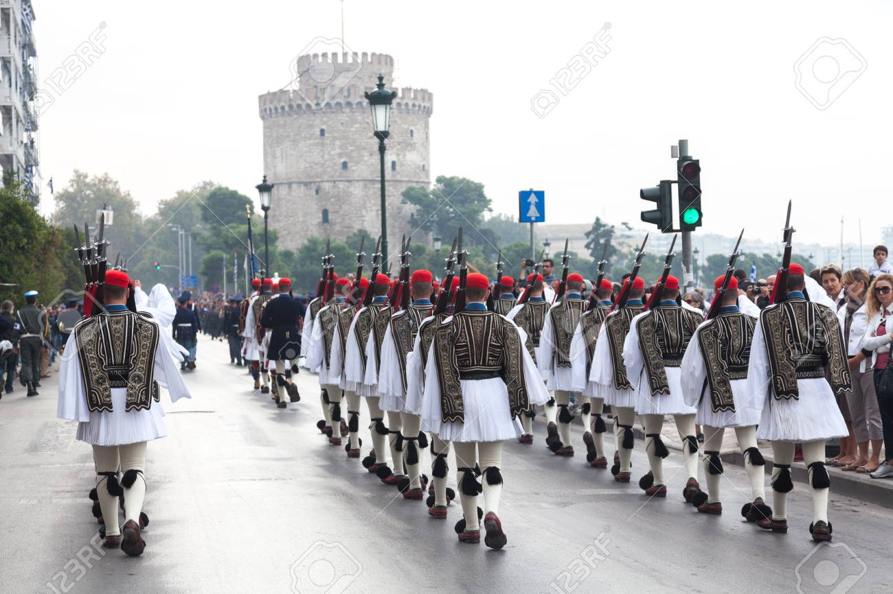 THESSALONIKI, GREECE - OCT 27:100th liberation anniversary from the City's 500 years Ottoman Empire Occupation; flown of the Greek flag on the White Tower on Oct 27, 2012 in Thessaloniki, Greece Stock Photo - 17465147