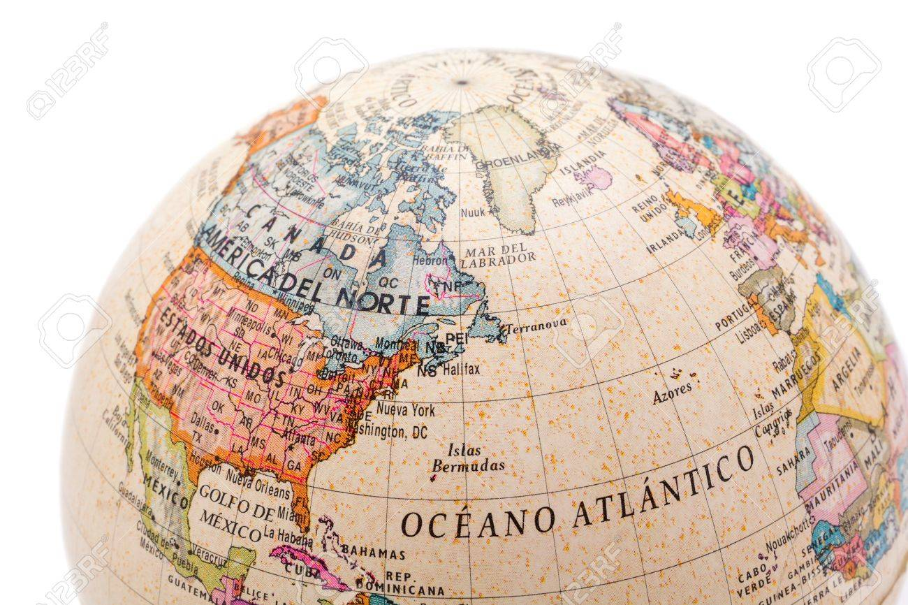 Part Of A Globe With Map Of Canada USA And Greenland Isolated - Usa globe map