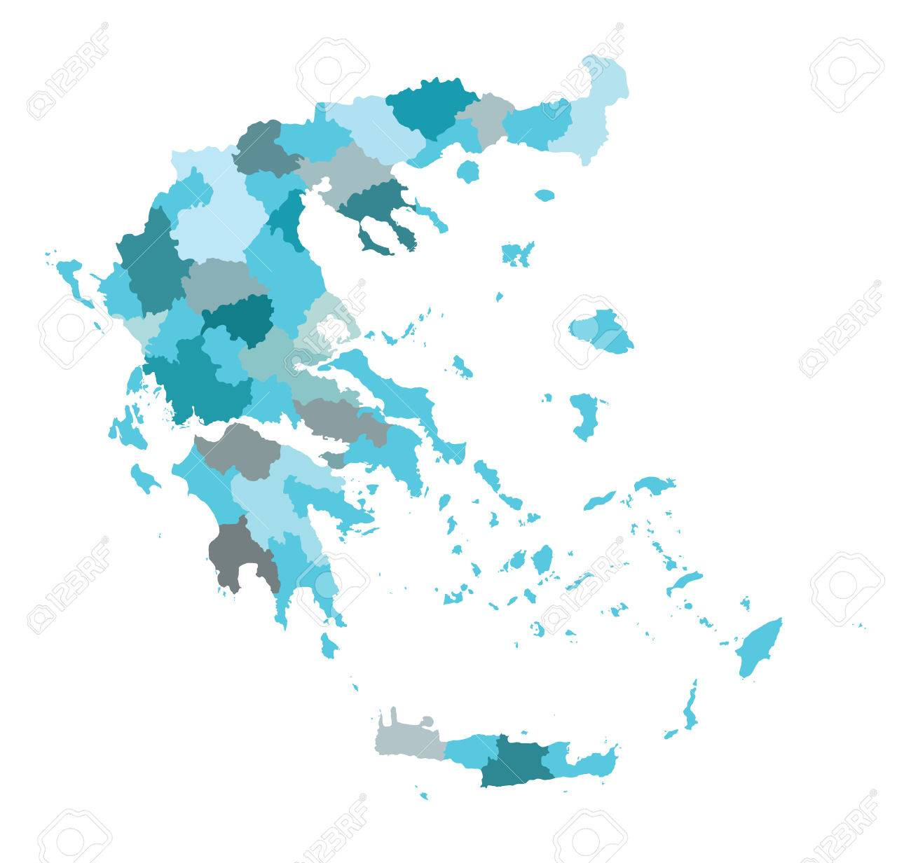 High detailed vector map of Greece. Vector illustration Eps 10