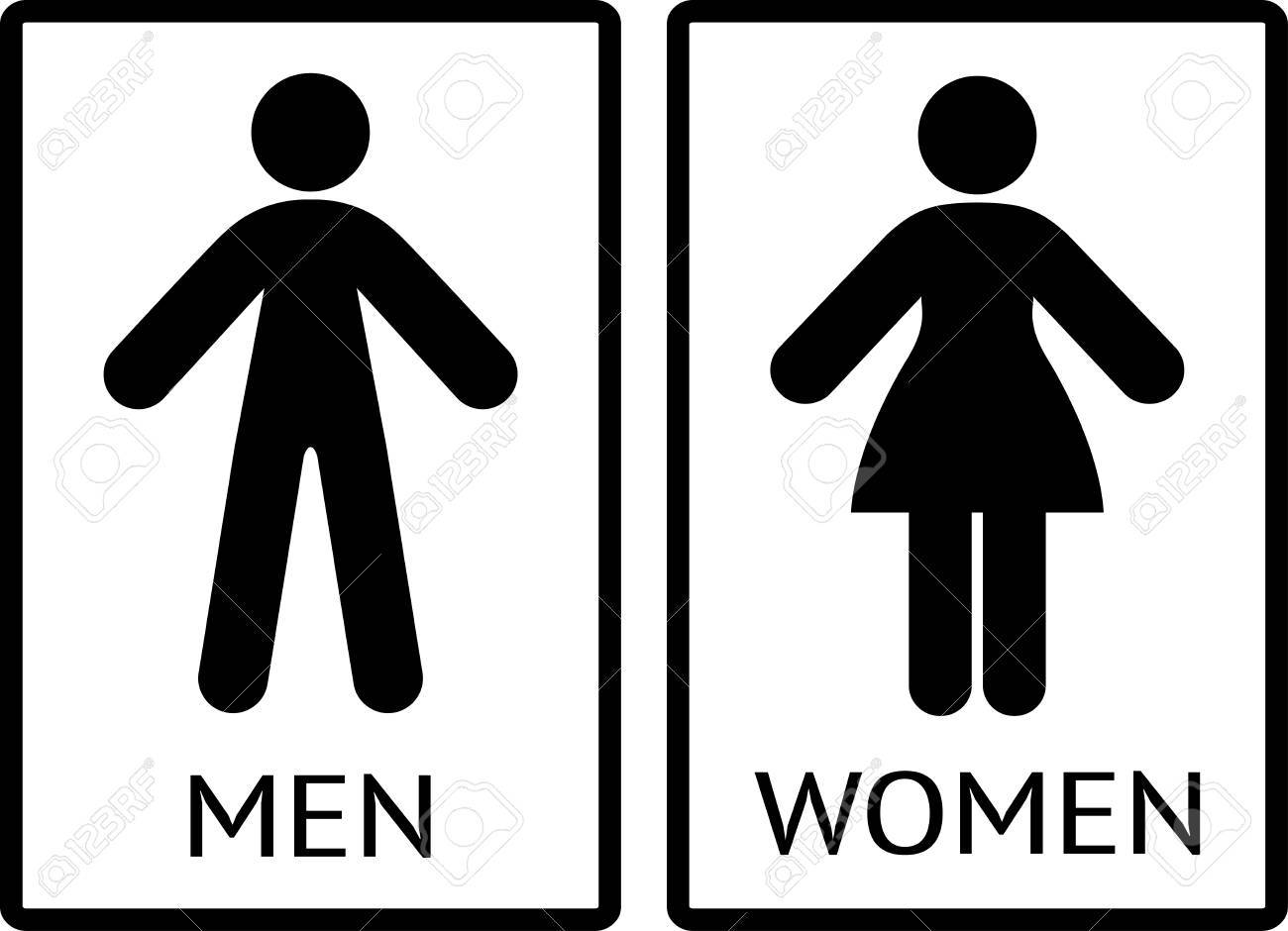 Men And Women Signs Wc Icons Restroom Signs Toilet Pictograms