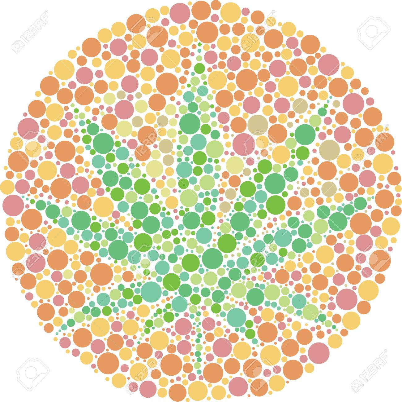 Ishihara Color Test Plate With The Shape Of Cannabis Leaf. Vector ...