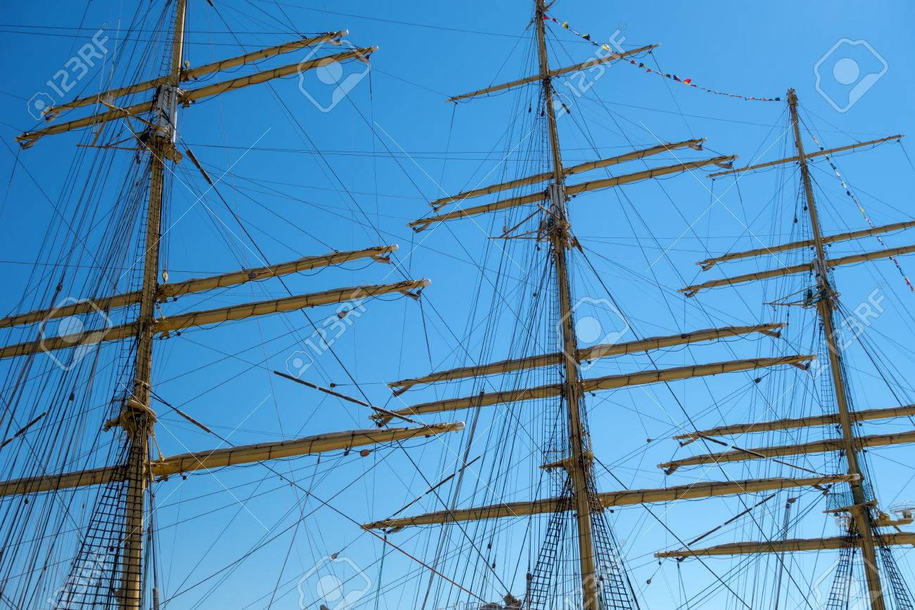 Marine Rope Ladder At Pirate Ship. Sea Hemp Ropes On The Old ... for Rope Ladder Ship  587fsj
