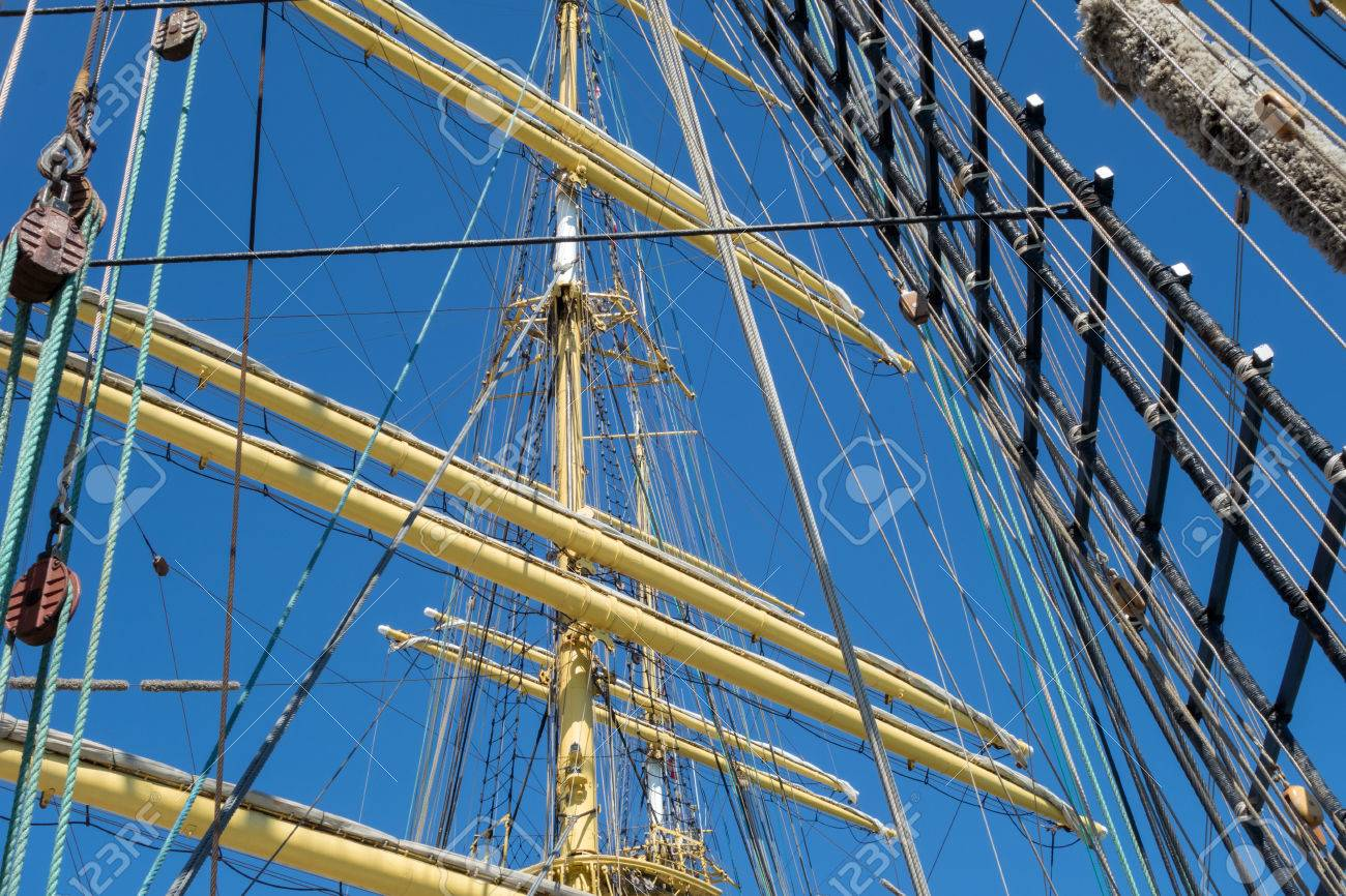 Marine Rope Ladder At Pirate Ship. Sea Hemp Ropes On The Old ... for Rope Ladder Ship  45hul