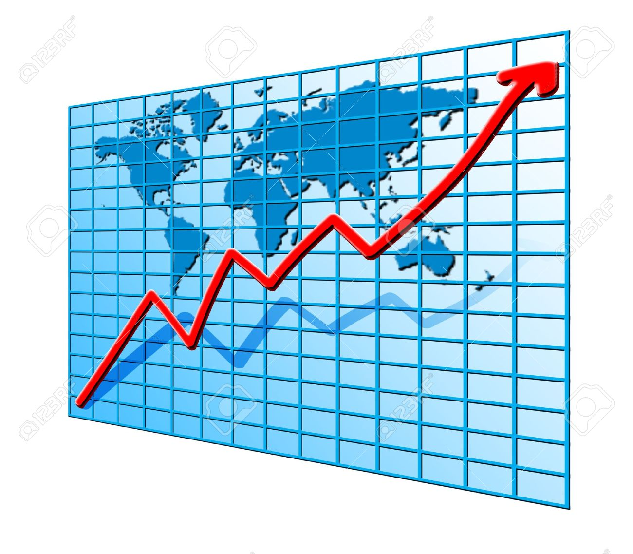 red line chart going up on world map blue background stock photo