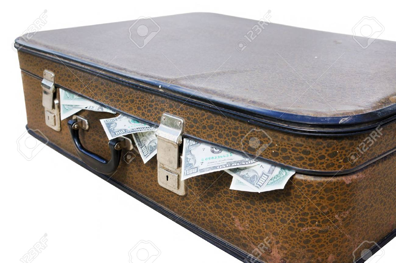 Dollars stick out of an old suitcase Stock Photo - 10299870