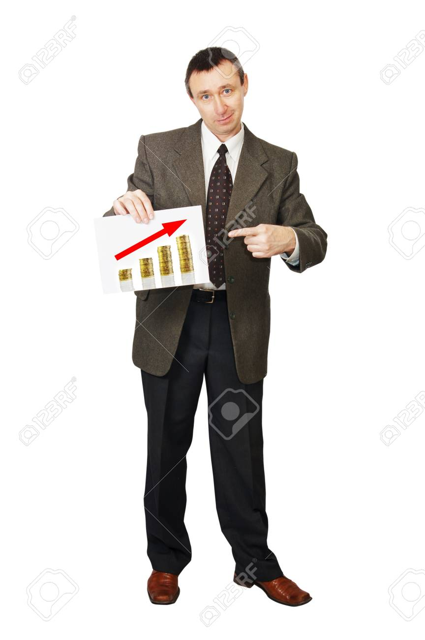 Businessman points to growth of profit Stock Photo - 13086283