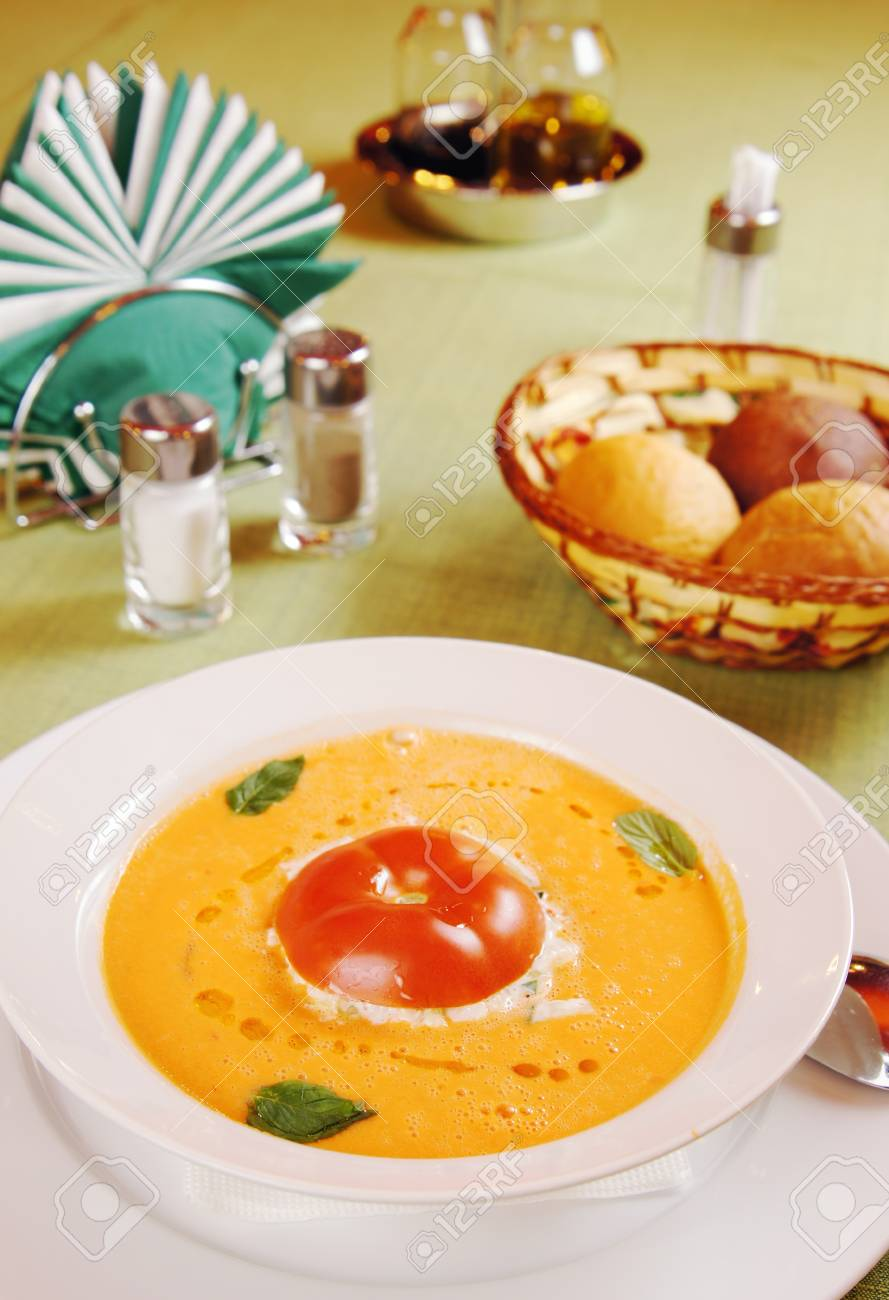 Traditional Spanish tomato soup  Gazpacho on a table Stock Photo - 15717001