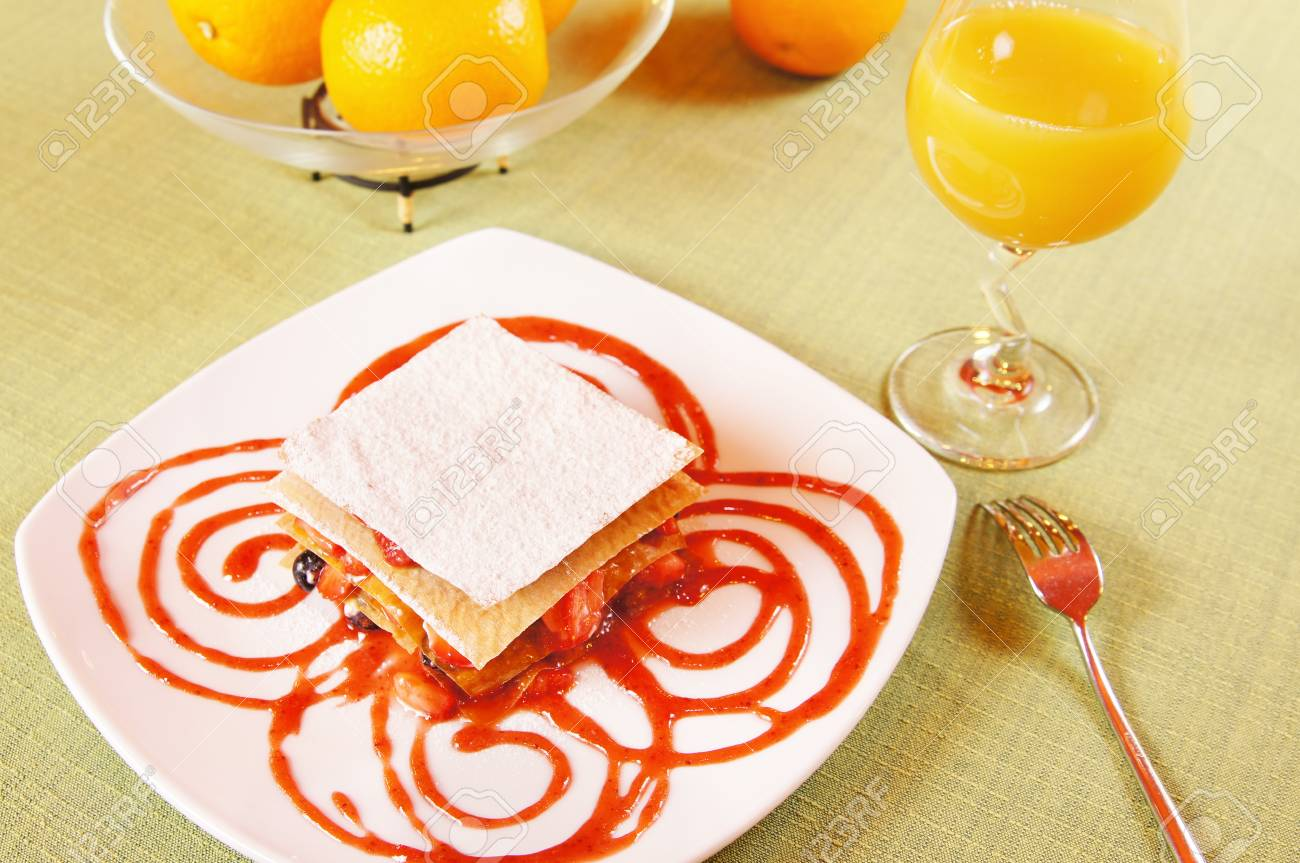 Dessert Layered cake with frozen berries on a plate Stock Photo - 15735066