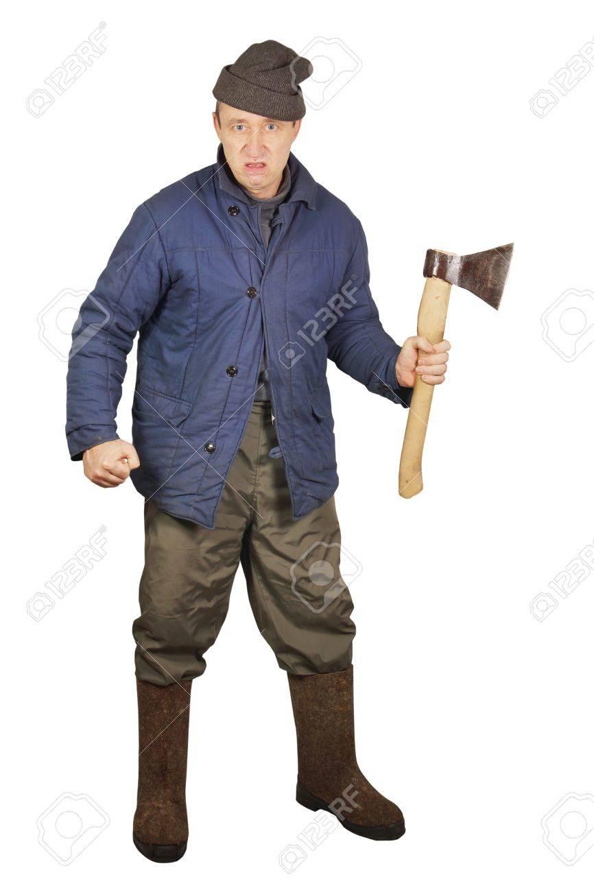 Aggressive enraged man with an axe Stock Photo - 17382447