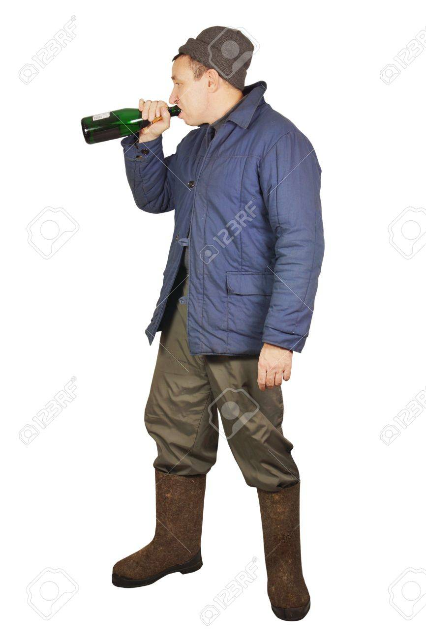 Drunkard is drinking from a bottle Stock Photo - 17382456