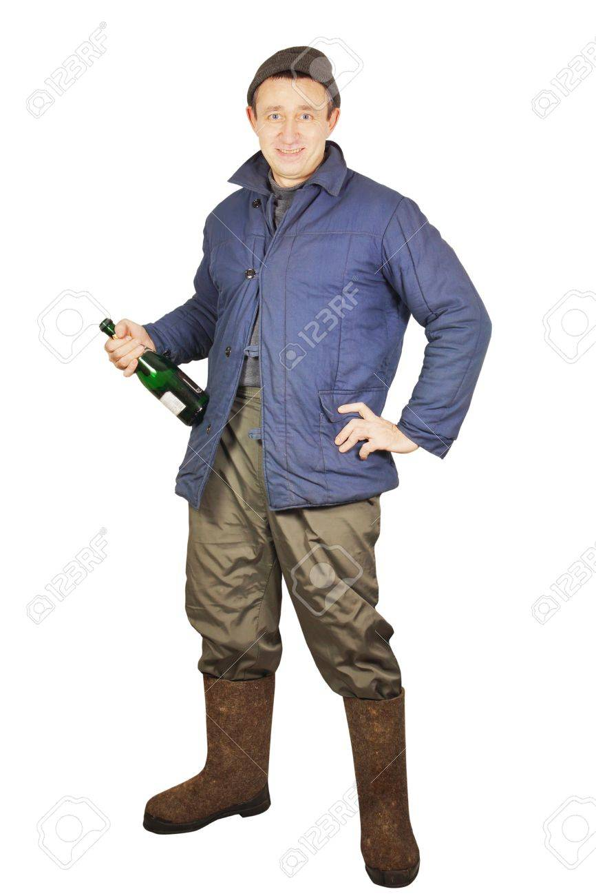 Drunk Man With A Bottle Of Alcohol Stock Photo Picture And Royalty