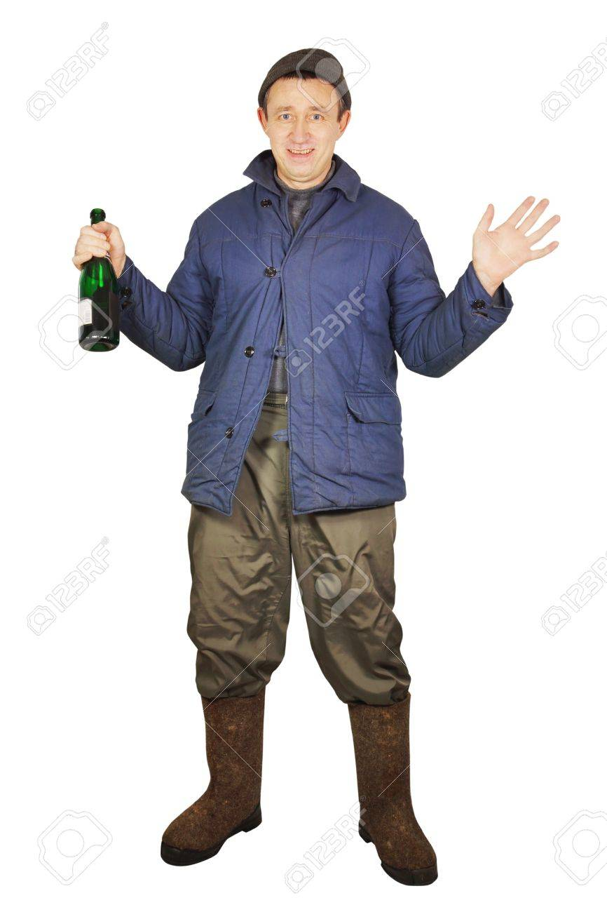 Drunkard with a bottle Stock Photo - 17447198