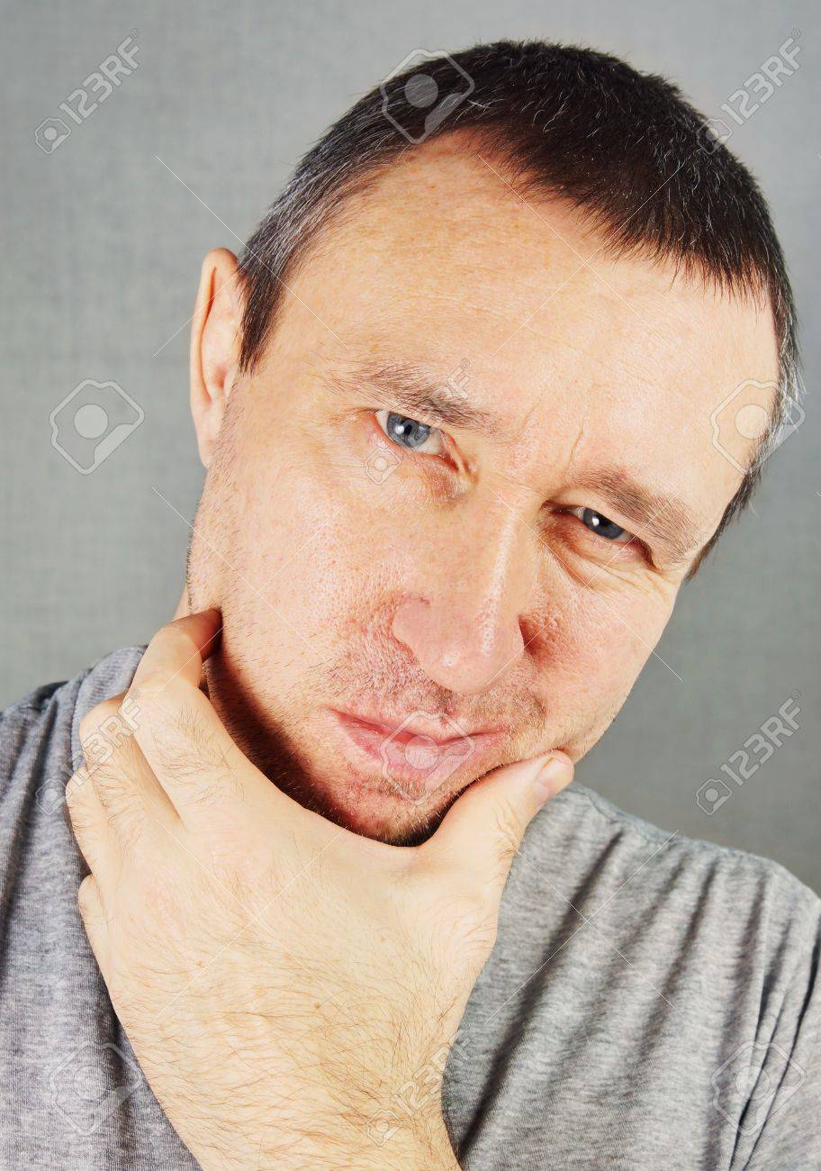 Unshaved inhospitable man Stock Photo - 17447207