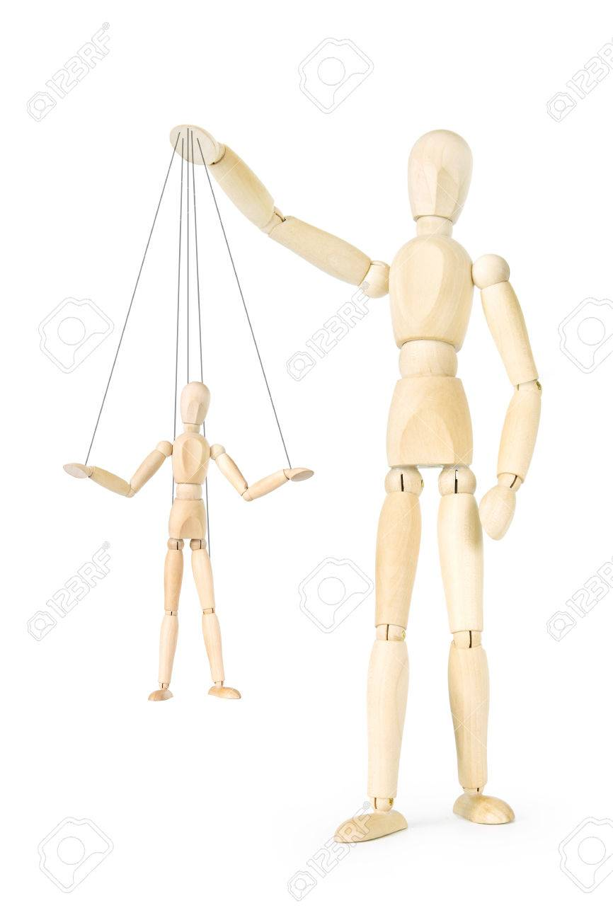 Man holds in his hands the marionette on threads  Abstract image