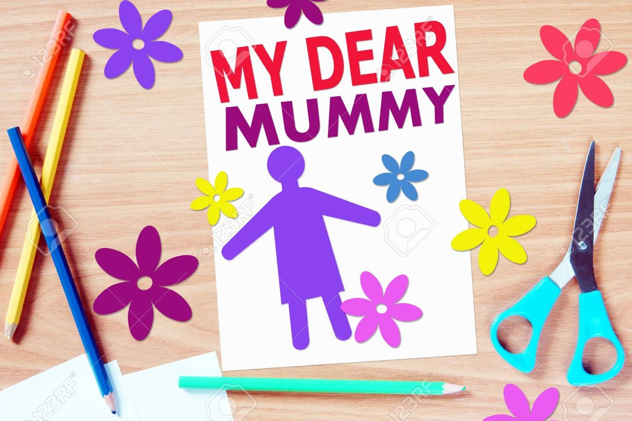 Childrens Greetings With Mothers Day Concept With Paper