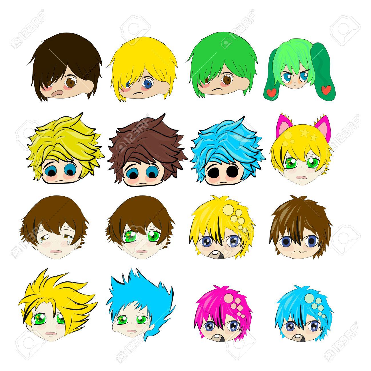 Sad Crying Cute Chibi Boys Faces Anime Illustration Stock Photo