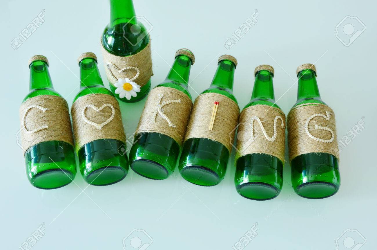 Cooking Craft Ideas Using Waste Glass Bottles Stock Photo