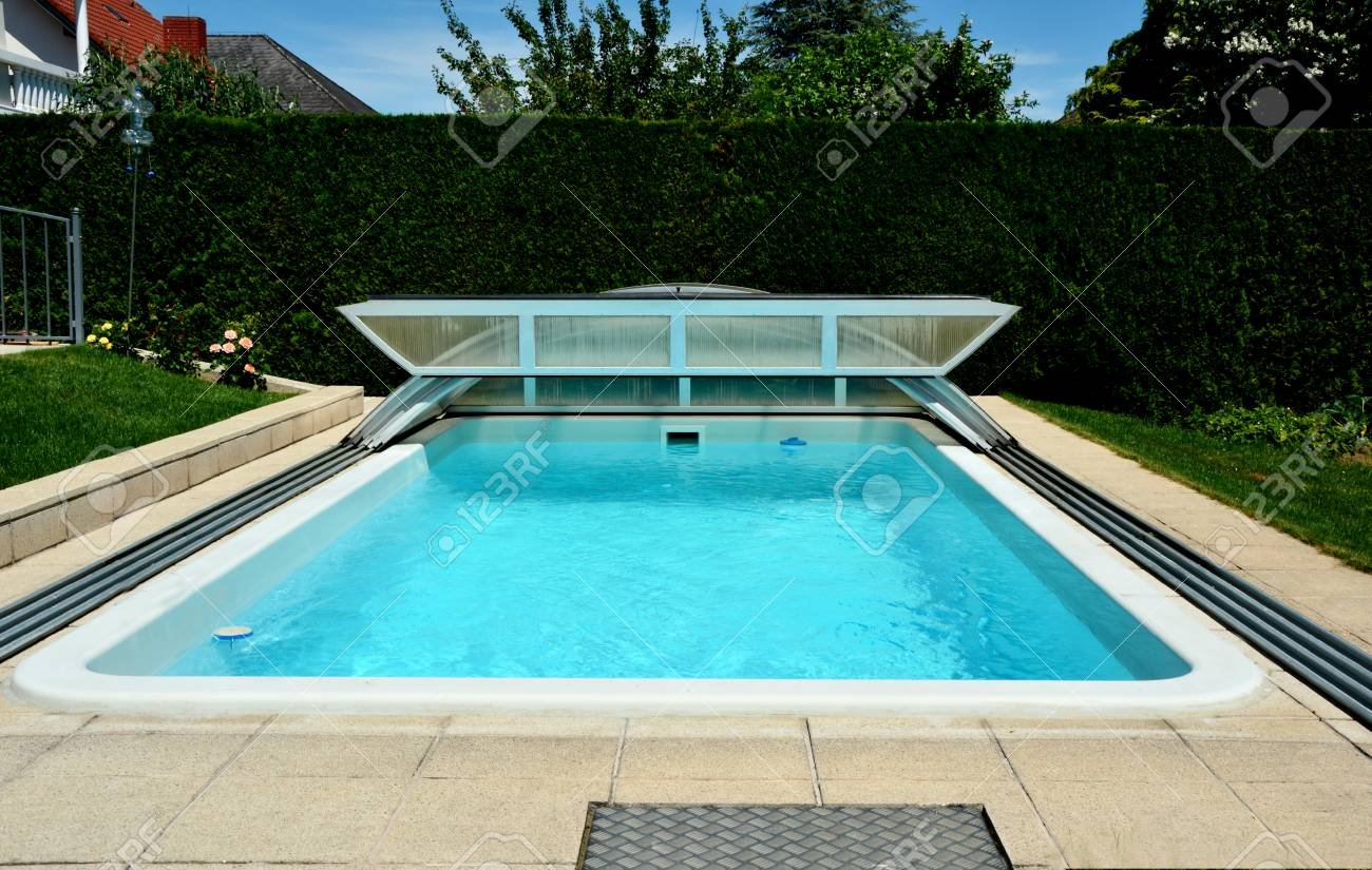 Private Swimming Pool At Home With Swimming Pool Roofing Sheet Stock ...