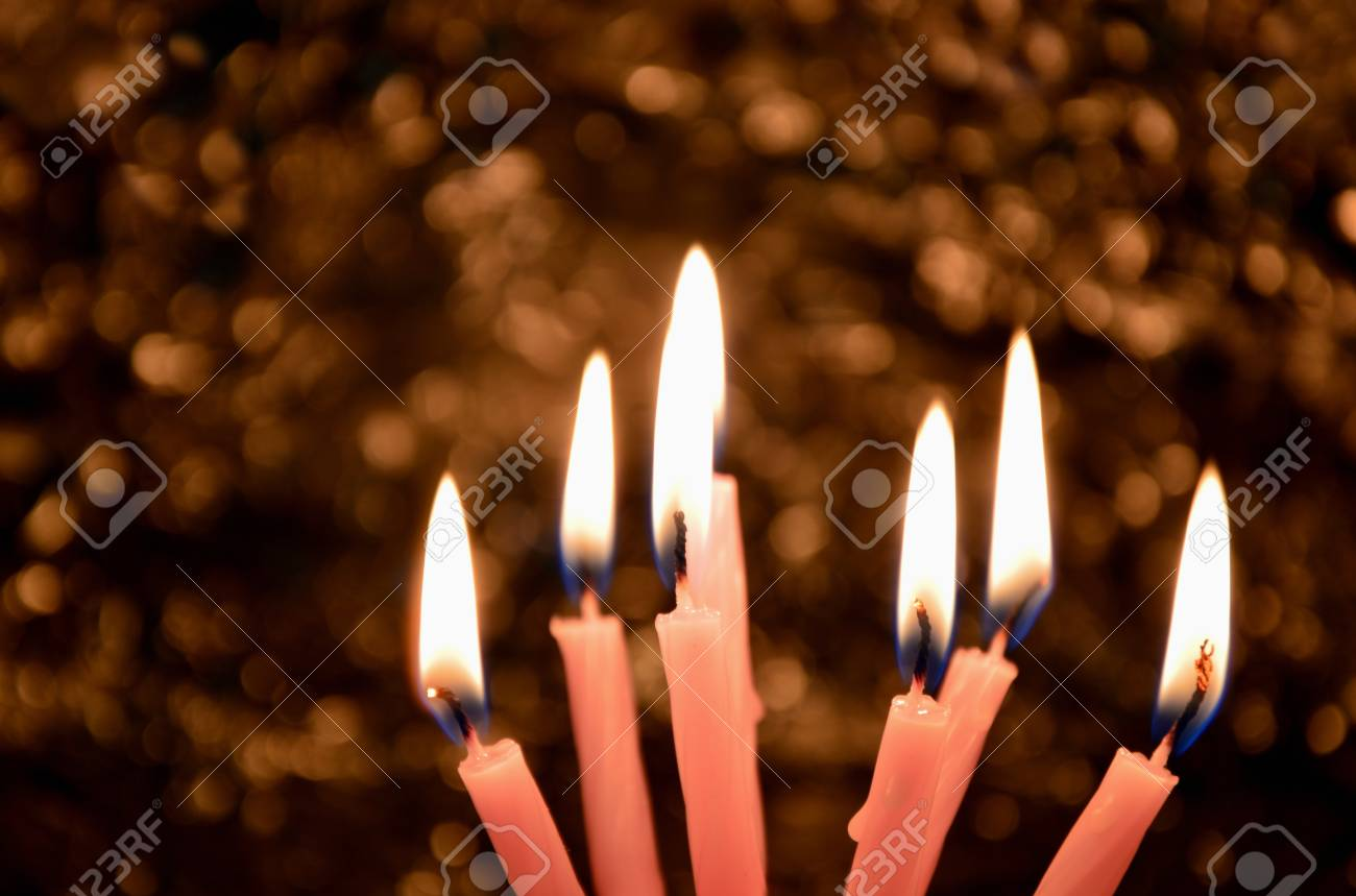 A Lot Of Birthday Candles Light With Boho Background In The Dark Room Stock Photo