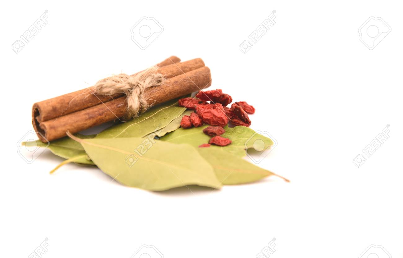 Dried Herbal For Soup Cinnamon Goji Berries And Bay Leaf Or Bay