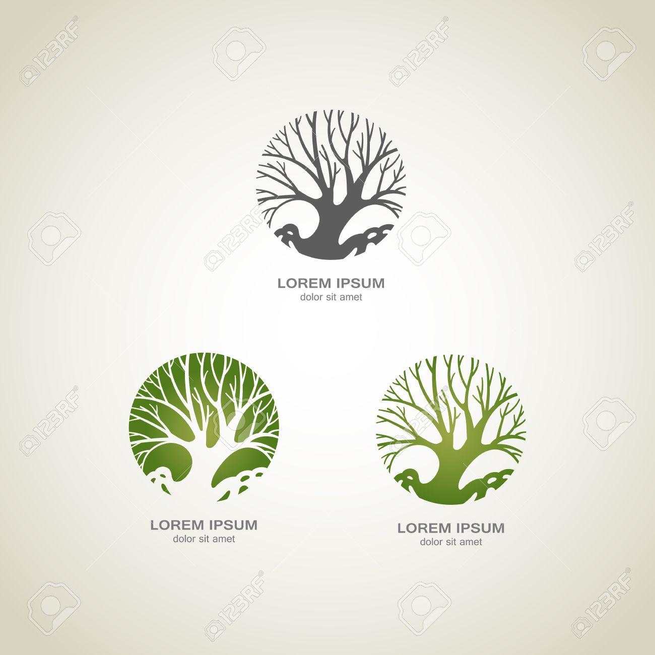 green tree logo green circle tree vector logo design creative