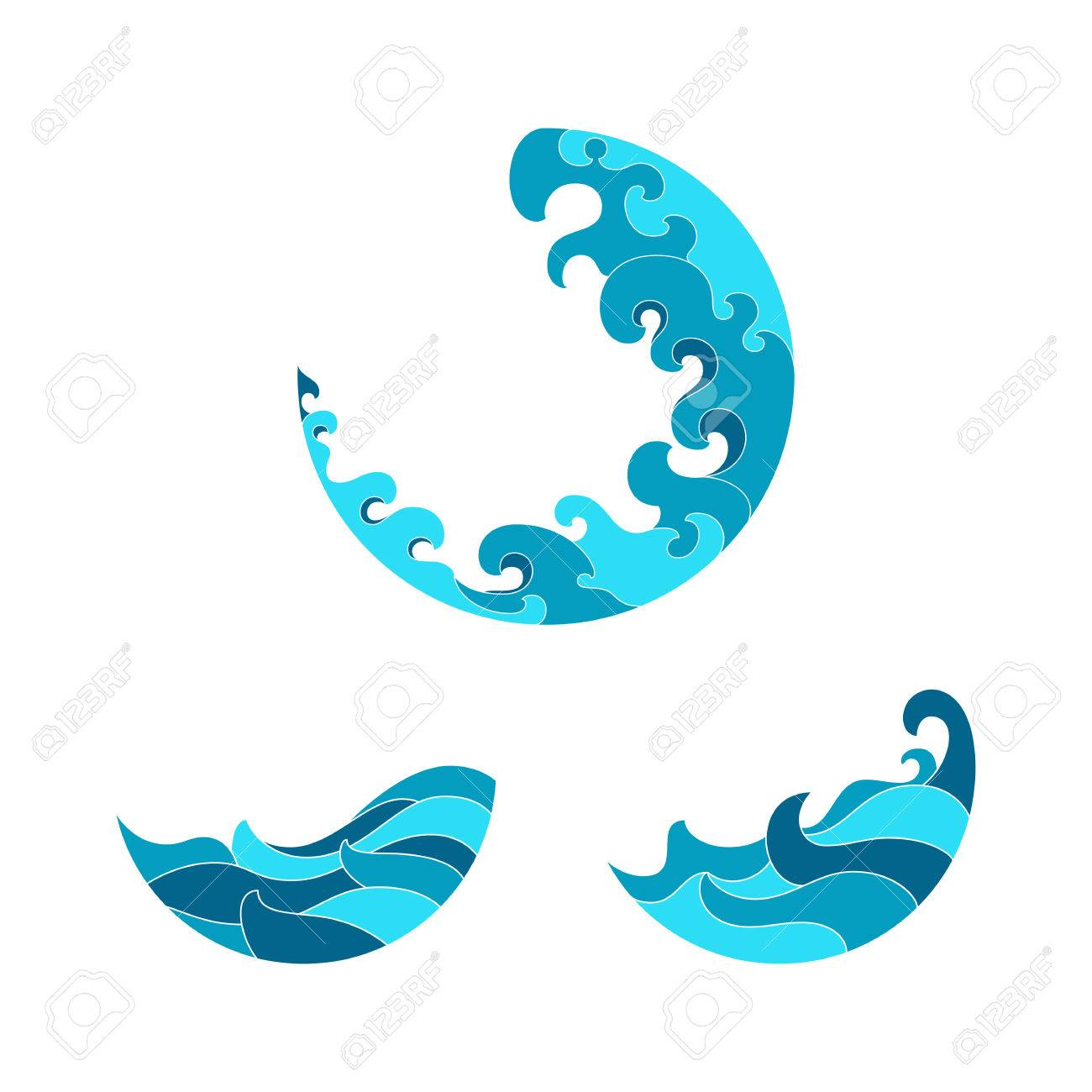 Ocean waves set isolated on white background wave symbols set ocean waves set isolated on white background wave symbols set for design blue sea biocorpaavc Choice Image