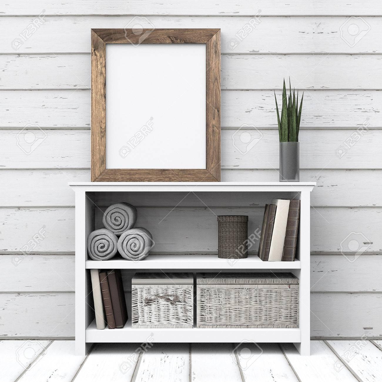 Leere Rahmen Holz Am Tisch Kommode Mit Weissem Holz Hintergrund