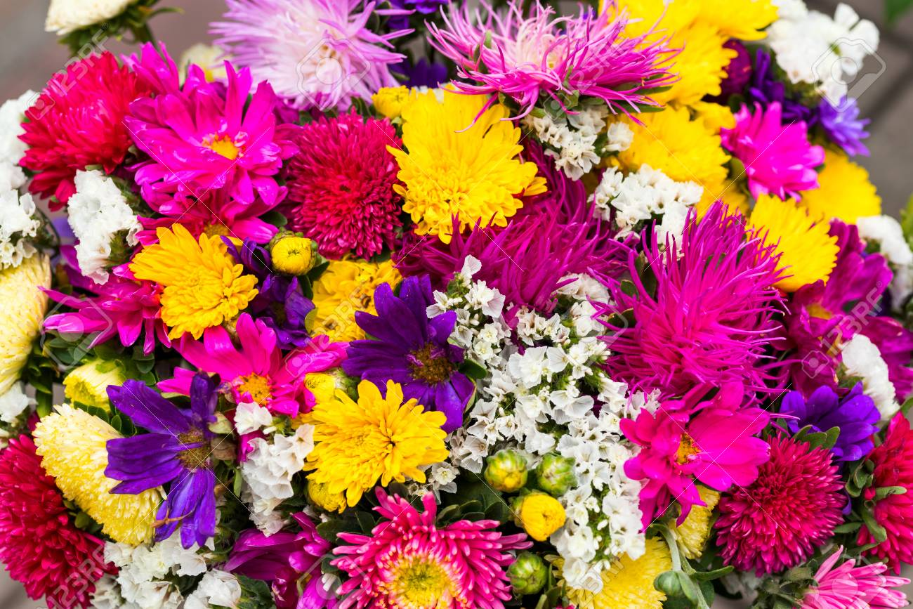 Cut Flowers In Bouquet For Sale Close Up Stock Photo Picture And