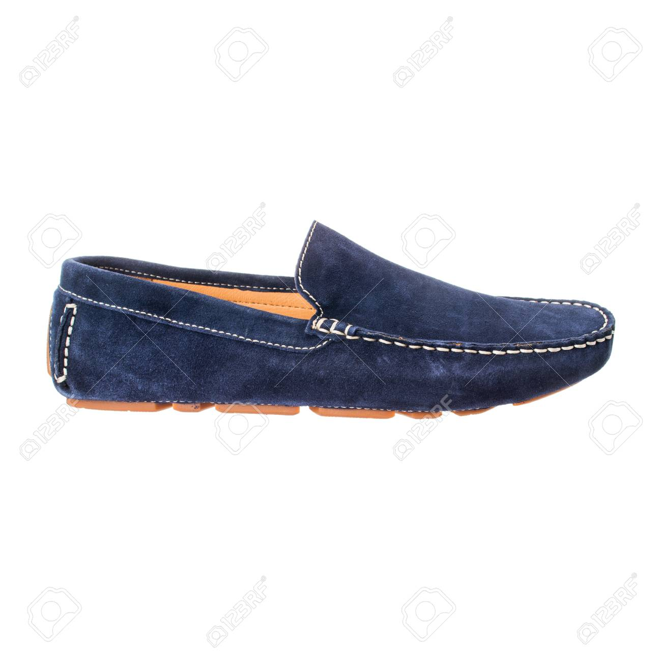 76831eac1c55f blue mens moccasins of suede unpolished leather isolated on white..