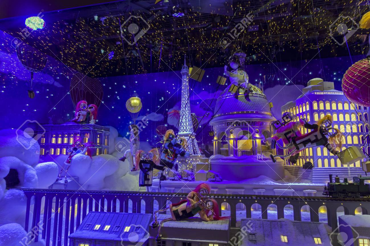 Christmas In France Decorations.Paris France December 12 2017 Christmas Decorations In The